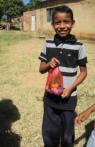 A Wayuu boy shows off one of the gifts we brought to the children.