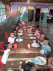 The children were eating their lunch when we arrived at Rosa's kindergarten.