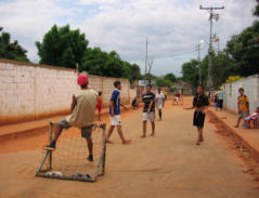Teens playing soccer in the street is a good opportunity to share Jesus.