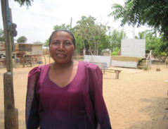 This is Pastora Rosa. She is a Wayuu pastor in Santa Cruz de Mara and the dirt lot behind her is where her church meets.