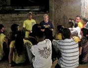 Ann Jenkins teaches a goup of teenagers at one of the churches in Maracaibo.