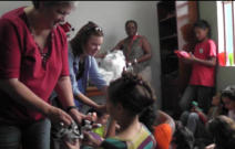 Sarita, Sandra & Tonia hand out gift bags to the children of the Salvation Army Children's Home in Maracaibo.