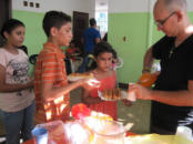 We fed the kids hot dogs & chips for lunch at the Children's Home in Maracaibo.