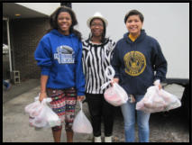 Shipmates & Hope Scholars return from taking food to clients' cars.