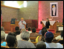 Rick & Pastor Kathy Price greet the people at Haven Chapel. (Aug 2015)